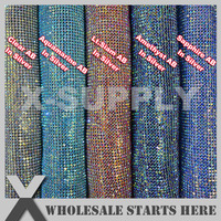 3mm AB Colors Flexible Metal Rhinestone Fabric Mesh in Aliminum Base Without Iron On Glue Backing,Used For Evening Party Dress