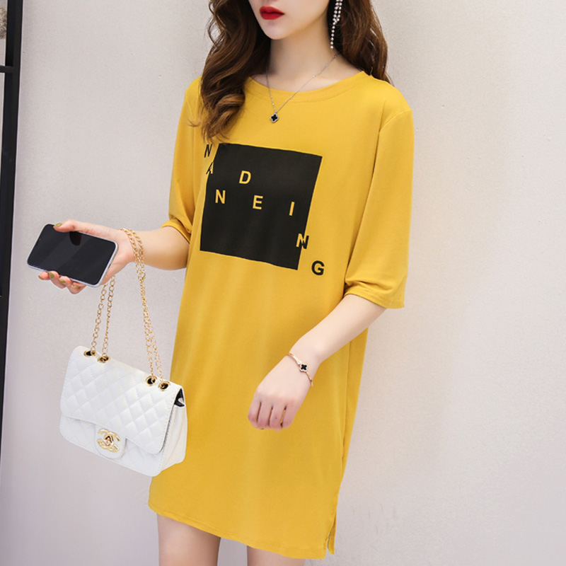 harajuku letter Printed Long T shirts Summer Women casual Loose Femme Tops basic white yellow Tshirt Short sleeve Ladies t-shirt