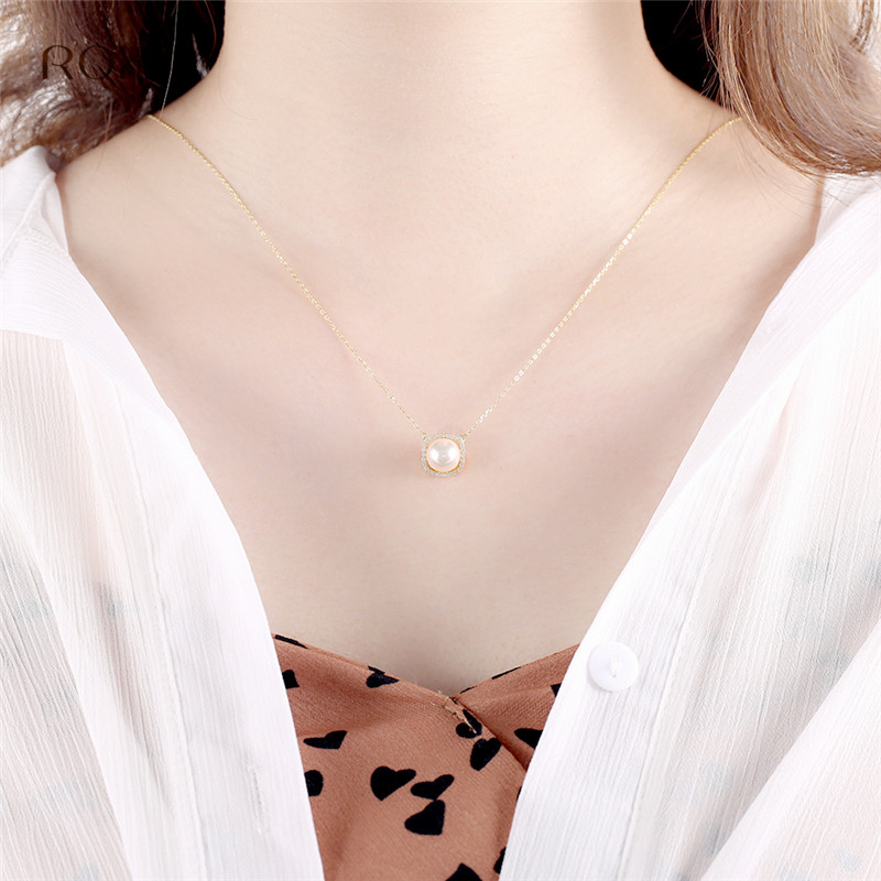 ROXI Simulated Pearl Necklace Women Statement Jewelry 100 925 Sterling Silver Necklaces Pendants Gold Color Crystal Necklace in Pendant Necklaces from Jewelry Accessories