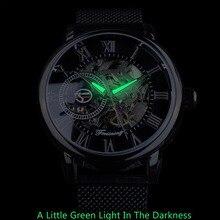 Forsining Retro Fashion Black Skeleton Sport Clock Mechanical Watch Luminous Hands Mesh Bracelet For Men Top Brand Luxury Watch