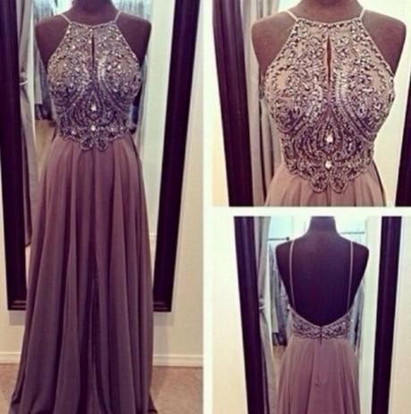 Hot Sale High Neck Open Back Crystal   Prom     Dresses   vestidos de noche A Line Floor Length Evening Gowns 2014 New Arrival
