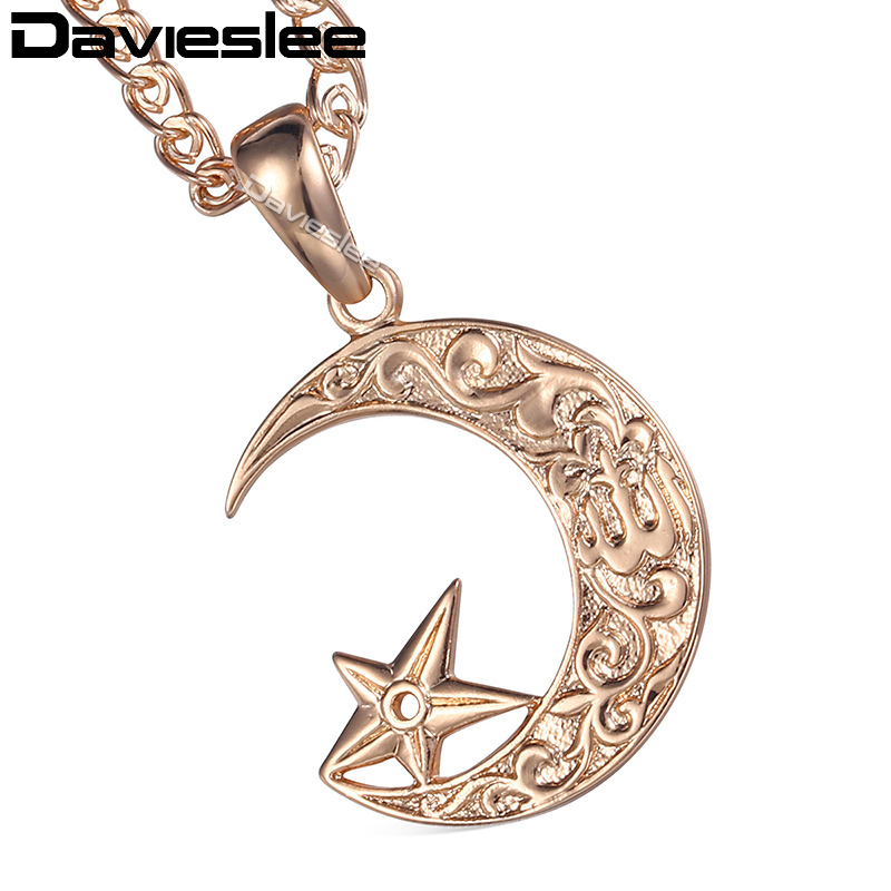 Davieslee Moon Star Pendant Necklace for Women Men Rose Gold Filled Chain Snake Link Fashion Jewelry LGP227