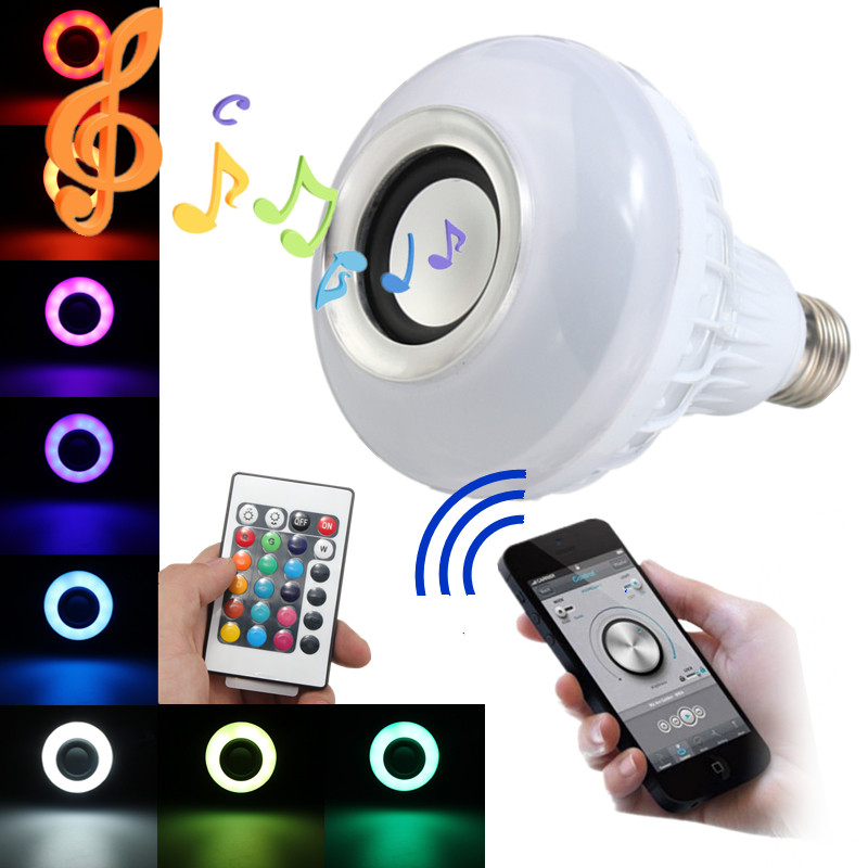 RGB LED Light Bulb E27 12W Wireless Bluetooth Speaker Music Playing 16 Colors Lamp Bulb Lighting With 24 Key Remote Controller