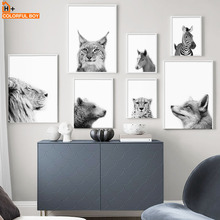Fox Bear Lion Deer Cheetah Pony Wall Art Canvas Painting Black White Nordic Posters And Prints Pictures For Living Room
