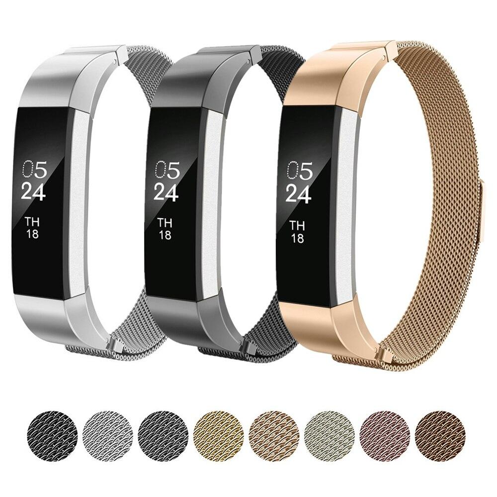 Cinghia a Laccio per Fitbit Milanese Alta HR/Alta Sostituzione Della Fascia del braccialetto del metallo Dell'acciaio inossidabile wristband + chiusura Magnetica chiusura
