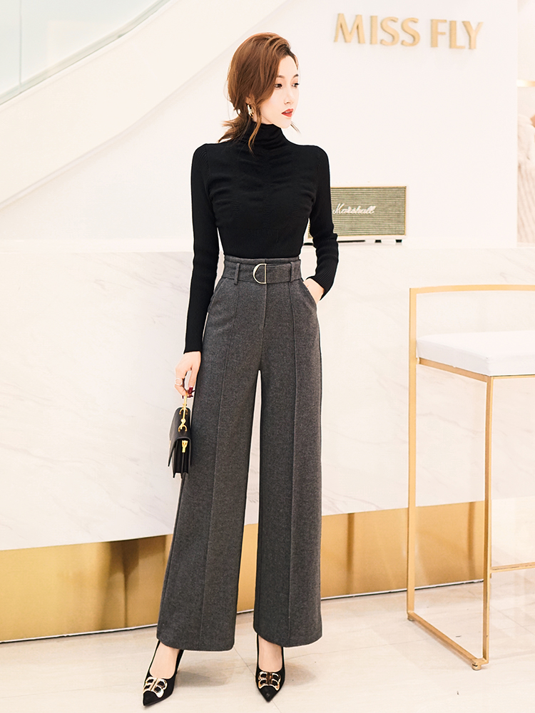 Female wool Pant Office Lady wide leg pants woolen trousers female autumn winter new high waist straight woolen casual pants