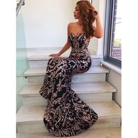 Sexy Strapless Mermaid Dresses Silver Gold Sequined Black Party Dress Backless Strapless Bodycon Stretchy Evening Maxi Dress