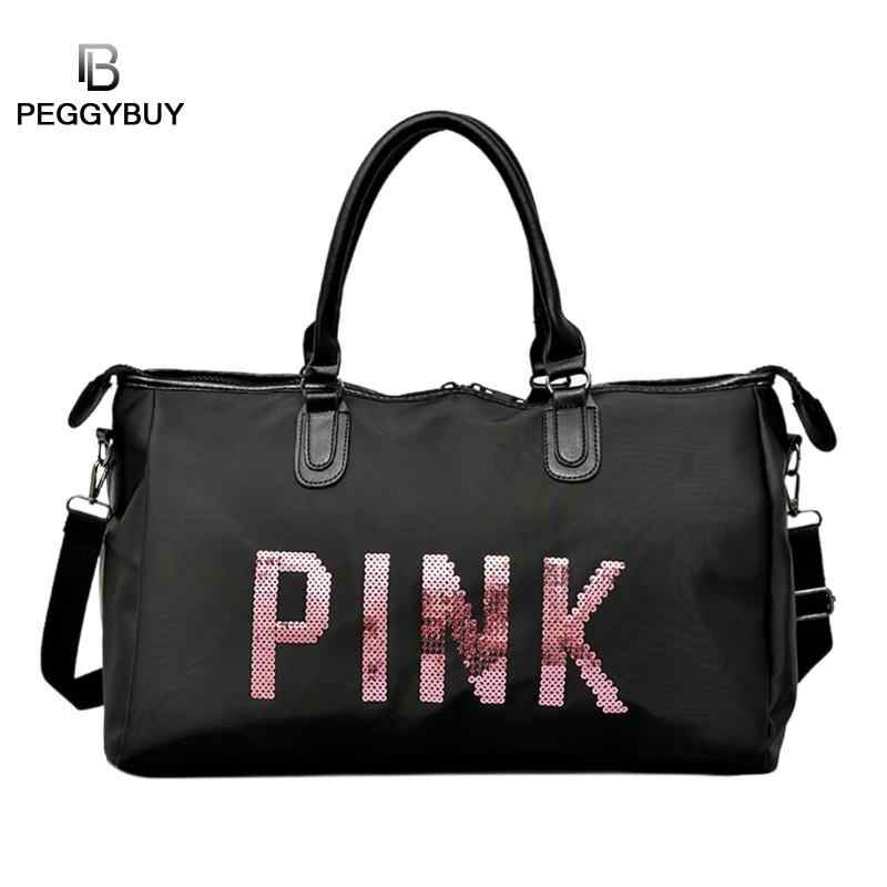 7228428016a 2019 negro bolsa de viaje Rosa lentejuelas hombro bolso mujer bolso damas  FIN DE SEMANA deporte