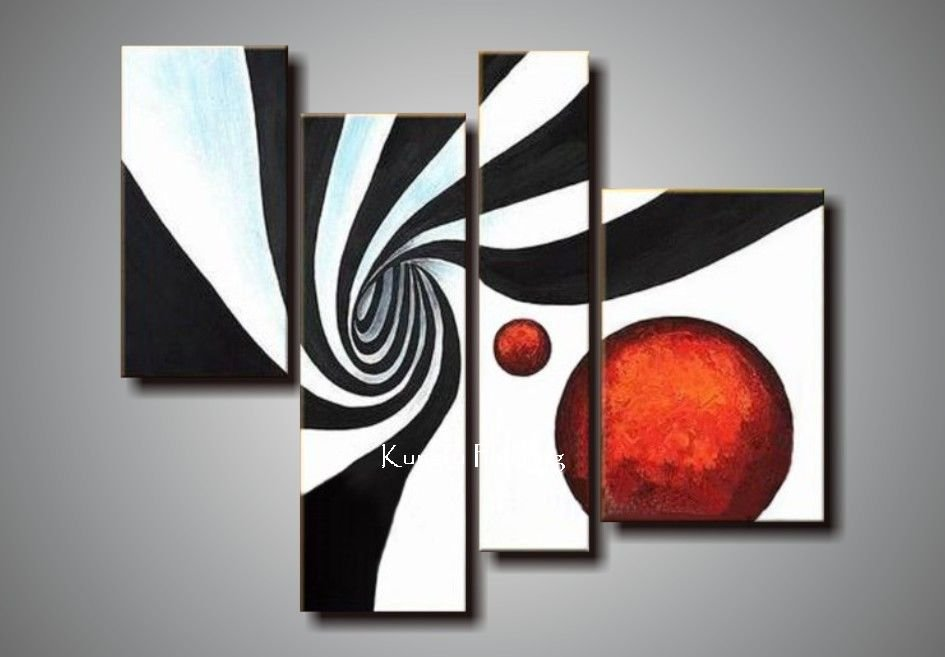 100 hand painted black white red canvas art group oil for Red canvas painting ideas
