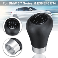 5 Speed Gear Shift Knob for BMW 5 7 series M E36 E46 E34 Real Leather Metal Ring Auto Interior Parts Replacement Gear Shift Knob