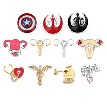 The Avengers Captain America Shield Bros Star Wars Perhiasan Organ Cuterus Rahim Feminis Kerah Pin Medis Perhiasan Aksesoris(China)