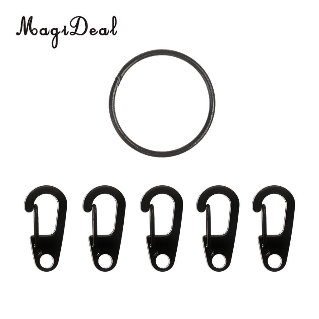 MagiDeal Excellent Camping Tool Alloy Quick Release Ring + 5Pc Spring Snap Keychain Clip Hook Buckle Kit Black for Outdoor Sport