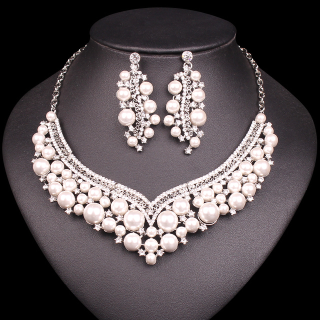 Fashion Bridal Jewelry Sets Imitation Pearl Statement Necklace Earrings Indian Wedding Costume Jewellery Gift For