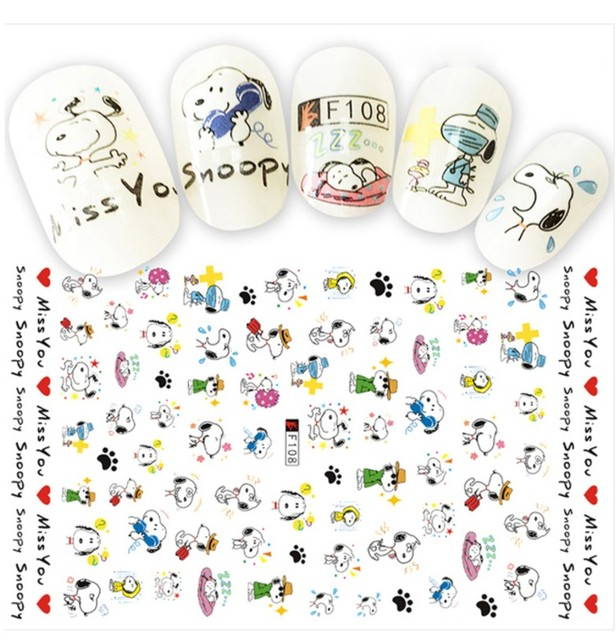 1 Sheets 3d Cartoon Designs Templates Nails Sticker Lovely Dog Diy