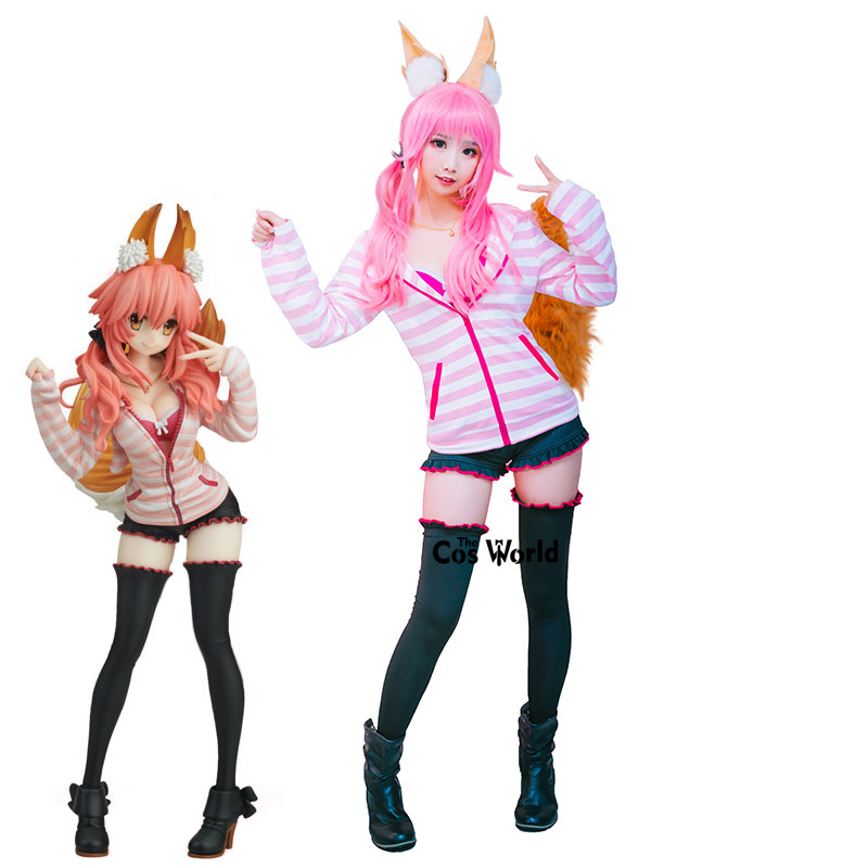 Fate EXTRA CCC Tamamo No Mae Coat Tops Shorts Uniform Outfit Anime Cosplay Costumes
