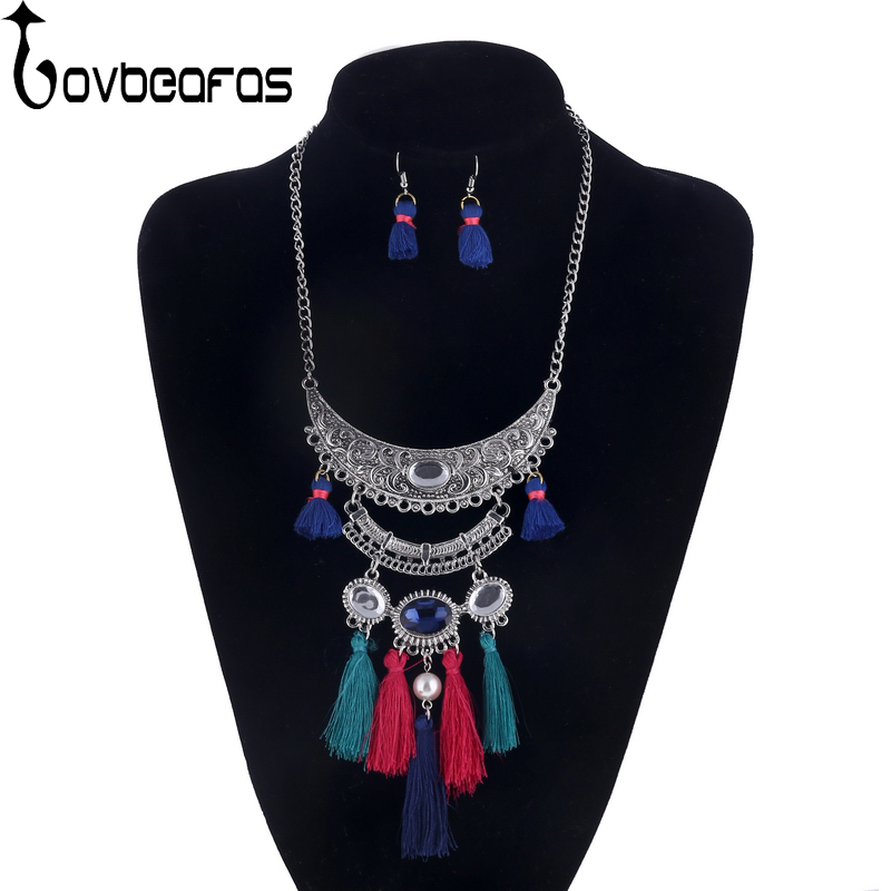 LOVBEAFAS Ethnic Bohemian Fringe Jewelry Sets Multilayer Carved Pearl Collar Maxi Vintage Collier Statement Necklace For Women