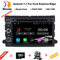 Android 7.1 1024*600 Car DVD For Ford F150 Mustang Expedition Explorer Fusion 2006 2007 2009 Quad Core GPS Navigation
