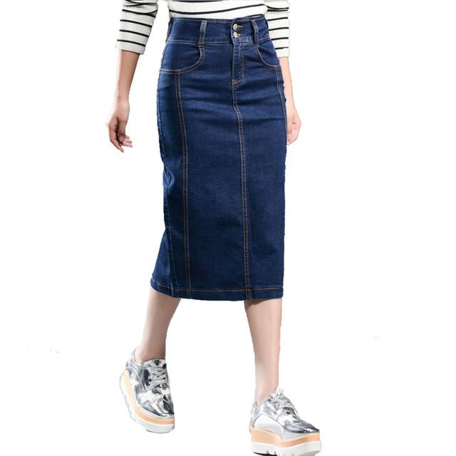 Falda de mezclilla de Las Mujeres Más El Tamaño Nueva 2017 Casual de Alta Cintura del Dril de algodón Faldas de mezclilla Lápiz Patchwork Stretch Delgado Cadera Falda de jean Larga 8XL