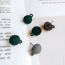 Forma redonda resina plástico parafuso prisioneiro brinco diy material pingente colar eardrop encantos jóias descobertas componente 10 pçs