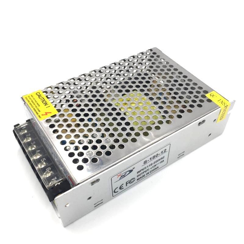 AC 100-240 В к DC 12 В 15A 180 Вт зарядное устройство Питание адаптер для Светодиодные полосы огни бесплатная доставка