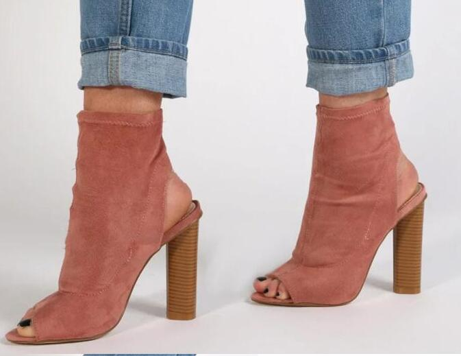 2017 summer hot selling high heel boots peep toe stretch fabric cutouts sandal boots woman thick heels ankle boots