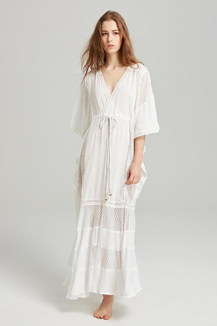 Il Boho Plus Cotton Backless Rosa Biancheria Dress Scava Summer Lungo Donne Damskie Sukienki bianco Della Fuori Del Sexy Size Spiaggia Bianco Vestito Colore Boemia wYw7Ur