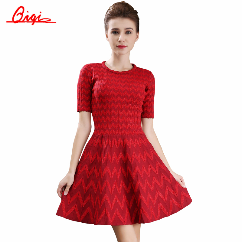 Qiqi Spring Autumn A-Line Knee-Length Vestido Short-sleeved Women Dresses Wavy Pattern Knitted Slim Vintage Elegant Casual Dress(China (Mainland))