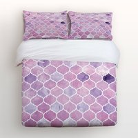 Duvet Cover Set with Zipper Closure Moroccan Geometric Shape Purple Watercolor Backdrop Print Bedding Sets with Relaxed Soft