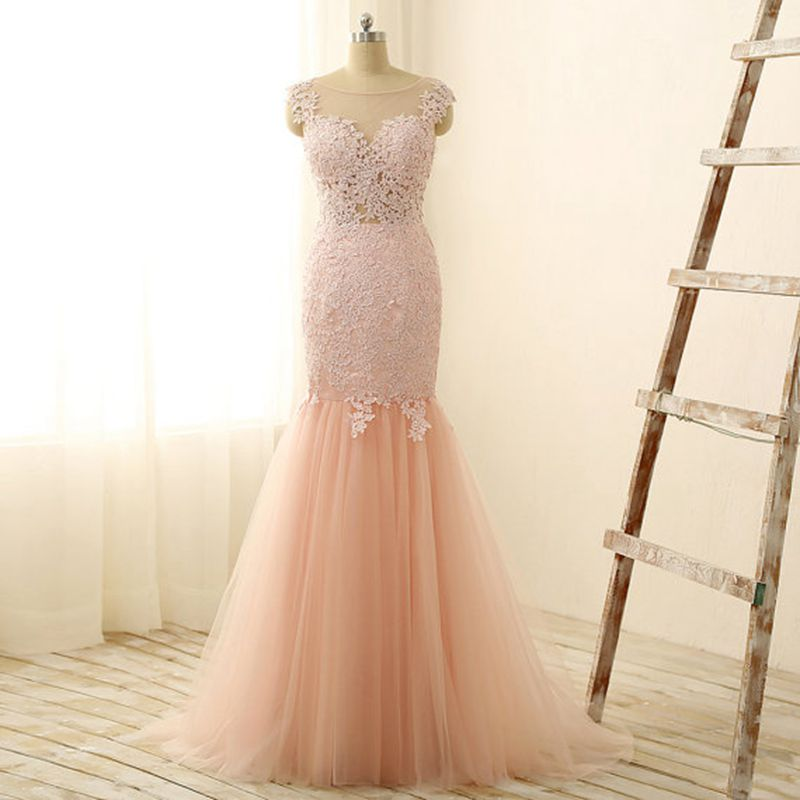 2017 New Light Pink Peach Color Tulle Lace Lique Mermaid