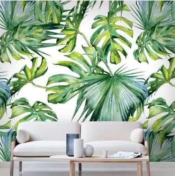Kabartma Açık Yeşil Yaprak Duvar Kağıdı Oturma Odası Yatak Odası