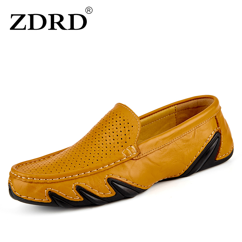 ZDRD Brand men Fashion Summer Style Soft Hollow Moccasins Men Loafers High Quality Genuine Leather Shoes Men Flats Driving Shoes