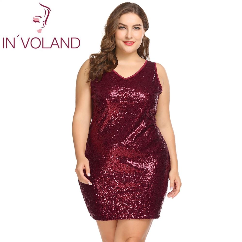 IN'VOLAND Women Party Dress Plus Size XL-5XL Sexy Sleeveless Sequin Glitter Mini Bodycon Slim Dresses Bandage Vestidos Big Size