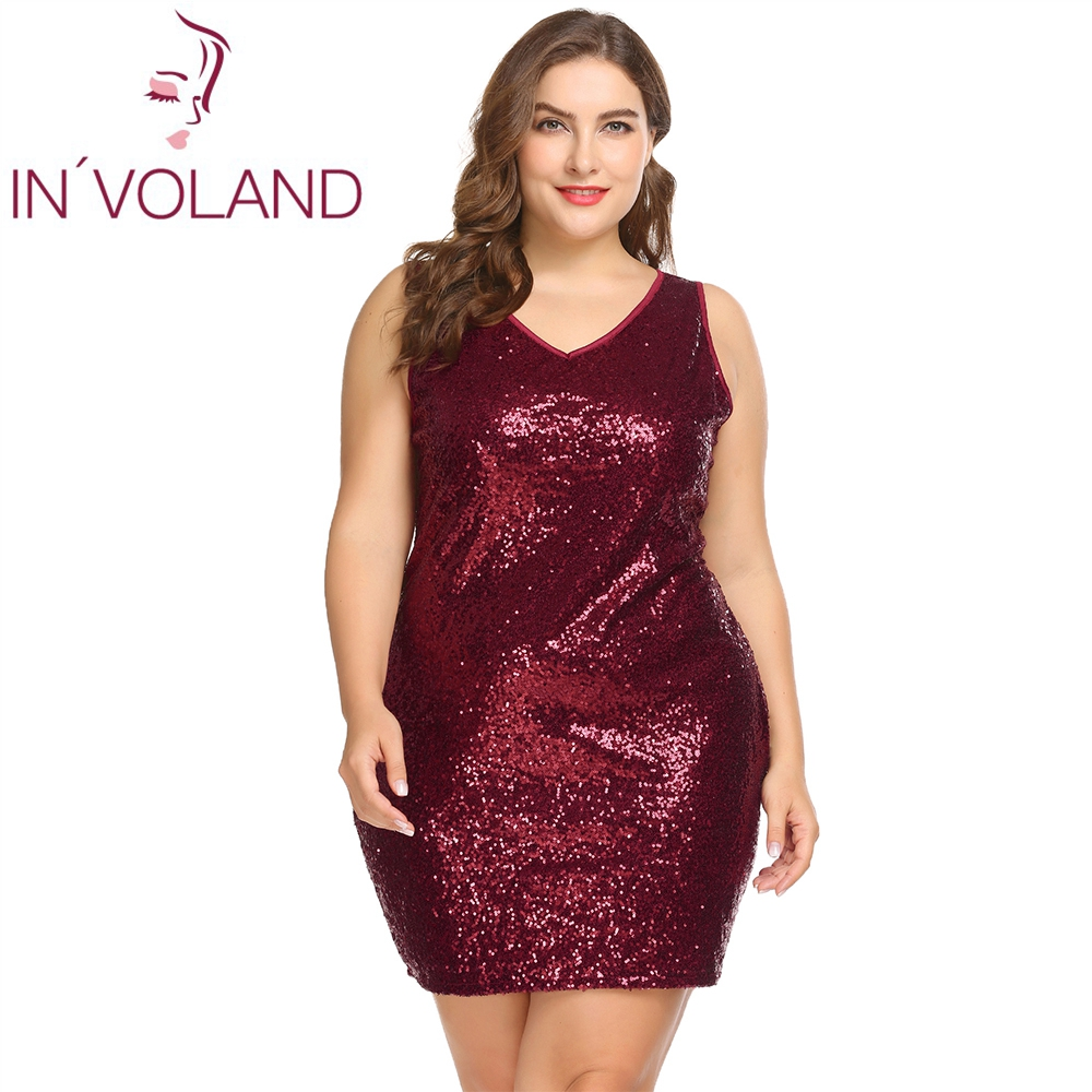 IN'VOLAND Women Party Dress Plus Size XL-5XL Sexy Sleeveless Sequin Glitter Mini Bodycon Slim Dresses Bandage Vestidos Big Size