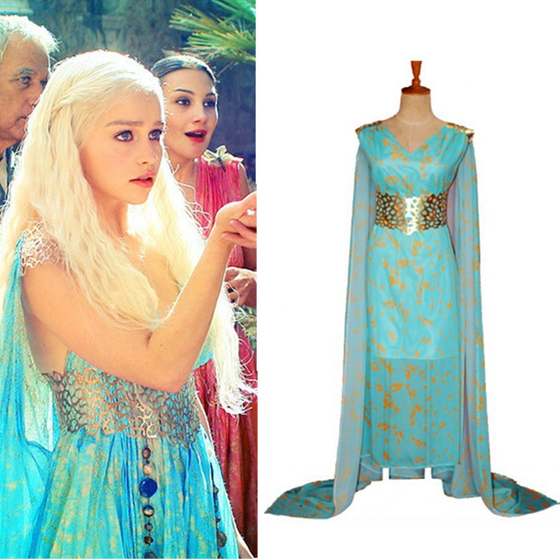 Game of Thrones Daenerys Targaryen Dany Dresses Cosplay Costume Blue Long Dress Wig Mother of Dragon Halloween