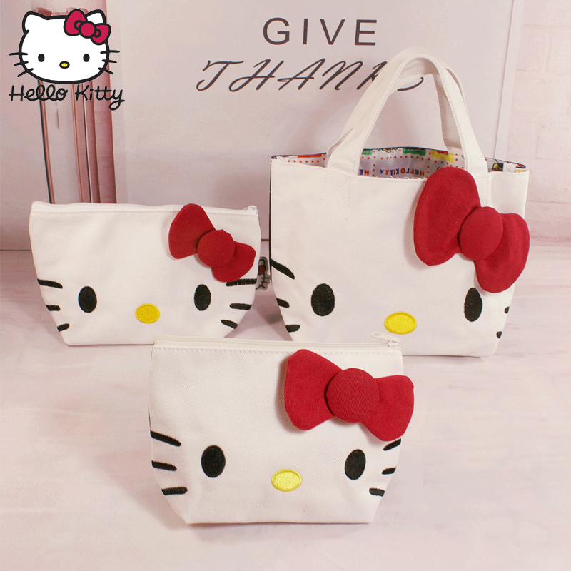 00003973e 2019 Hello Kitty Bag Hand Bags Hellokitty Bag Handmade Cartoon Lovely Girls  Shopping Nylon Portable Plush
