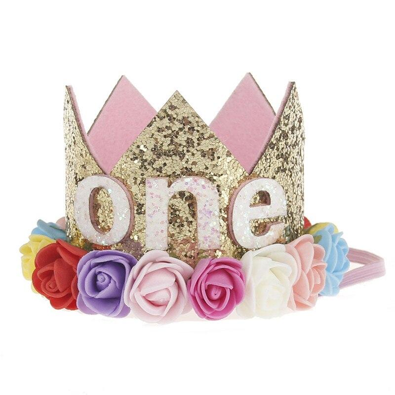 Искусственная нежная мини-фетровая блестящая корона с цветком повязка на голову для дня рождения Сделай Сам одежда для волос декоративные аксессуары - Цвет: Розово-красный