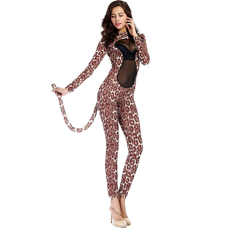 5d5dce058bd Woman Sexy Leopard Cat Cosplay Cosutms Animal Cos Mesh See-Through Jumpsuit  Pole Dancing Set
