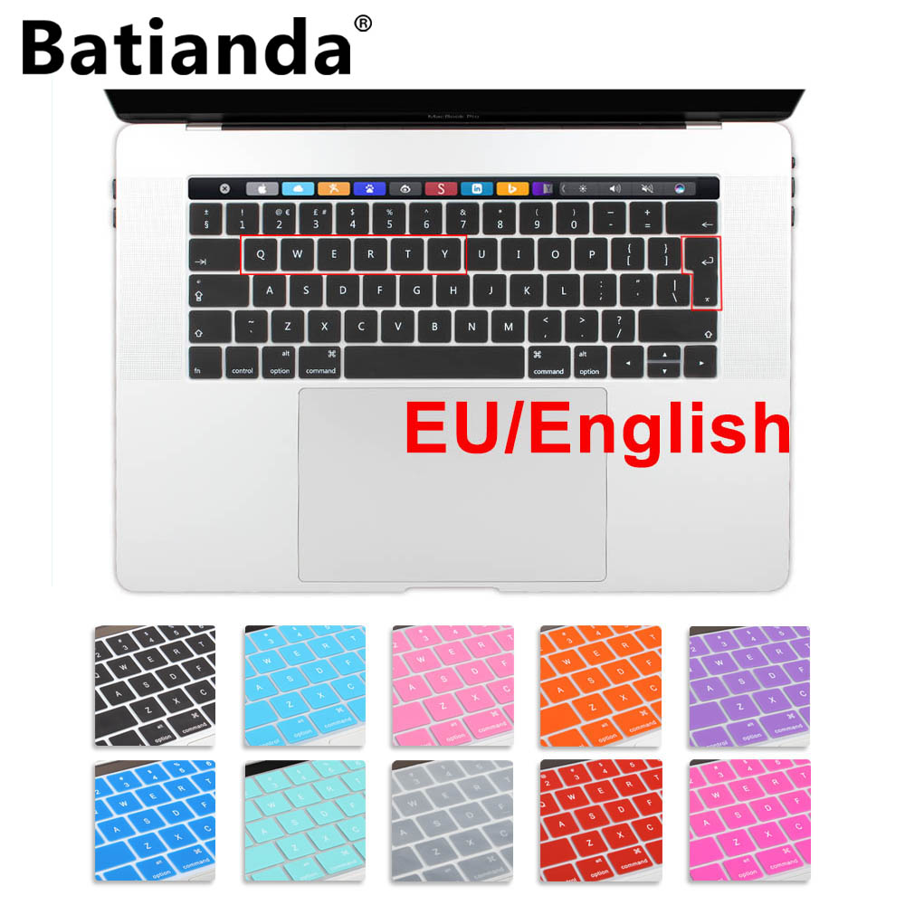 Silicone EU/UK English layout Keyboard Cover Stickers Protector for 2016/2017/2018 New MacBook Pro 13 15with Touch Bar / ID image