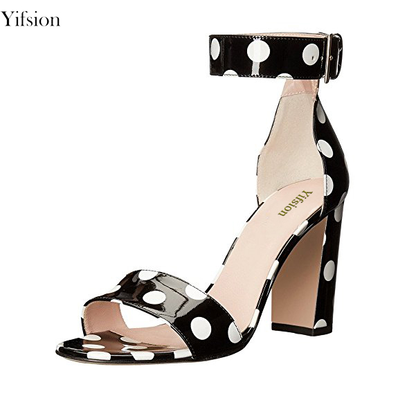 Yifsion Hot Women Shiny Sandals Sexy Square High Heel Sandals Open Toe Black Blue Pink Red Leisure Shoes Women US Plus Size 4-15 ladies 1 7 sexy pointed toe back strap western mixed color high heel sandals shoes women big size shoes 4 14 pink blue white