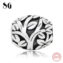 Silver 925 Tree of Life Charms Beads Women Fit Original pandora Bracelet Berloques Authentic Pendant DIY Beads & Jewelry Girl fc jewelry fit original pandora charms bracelet 925 sterling silver family heart tree of life mom lockets beads necklace pendant