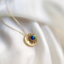 ANI 18K Yellow Gold (AU750) Wedding Pendant Necklace Natural Opal Certificate Natural Diamond Women Chain Necklace for  Birthday все цены