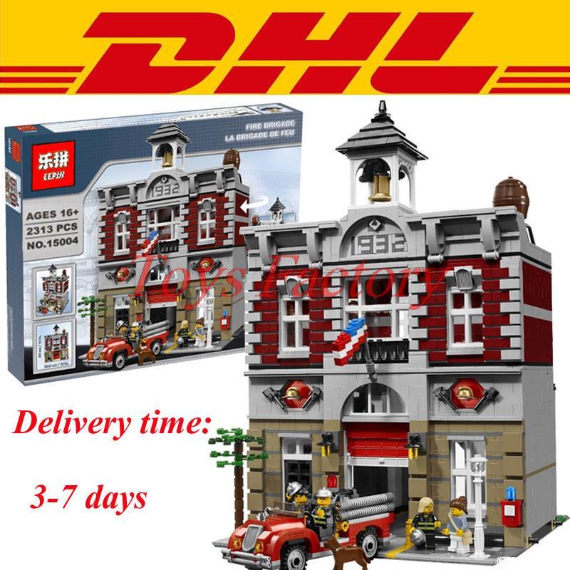 2016 DHL LEPIN 15004 Fire Brigade Station 2313 PCS Creator City Street font b Building b