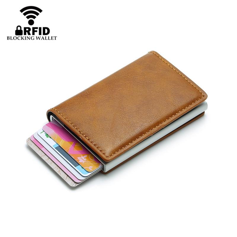 Nova moda anti rfid bloqueio titular do cartão de crédito dos homens couro pequena carteira id caso do cartão de banco metal proteção bolsa para mulher
