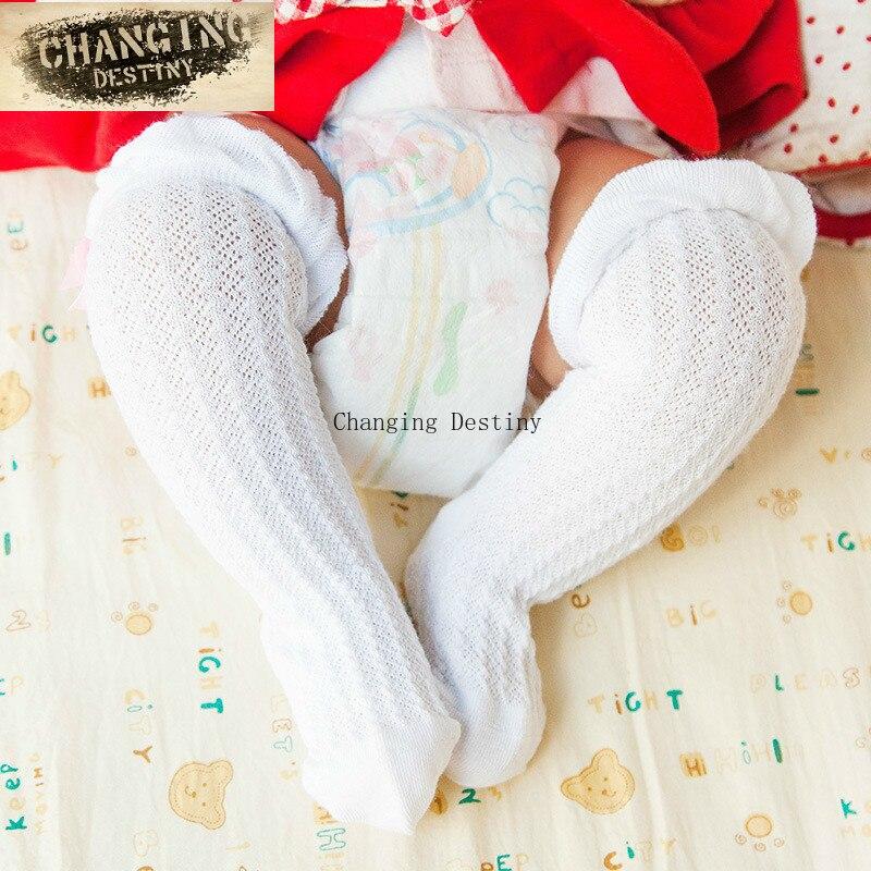 0-2 Jaar Oude Baby Meisjes Jongen Zomer Dunne Knie Hoge Mesh Sokken Beenwarmers Katoen Goede Luchtdoorlaatbaarheid Sok Pasgeborenen Infantiele Fijn Vakmanschap