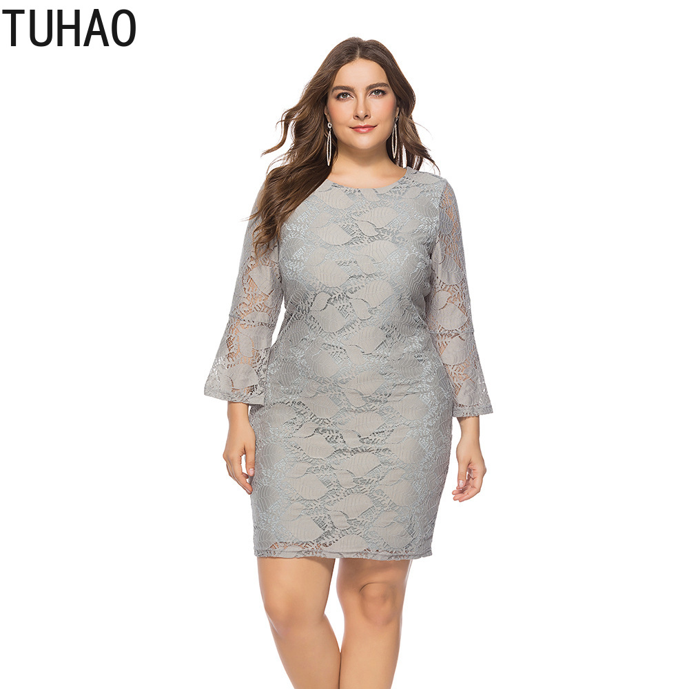 US $24.75 45% OFF|TUHAO 2018 Autumn Winter Elegant Grey Lace Dresses Plus  Size 5XL 4XL 3XL Flare Sleeve Office Lady Knee Length Female Dress XXFS-in  ...