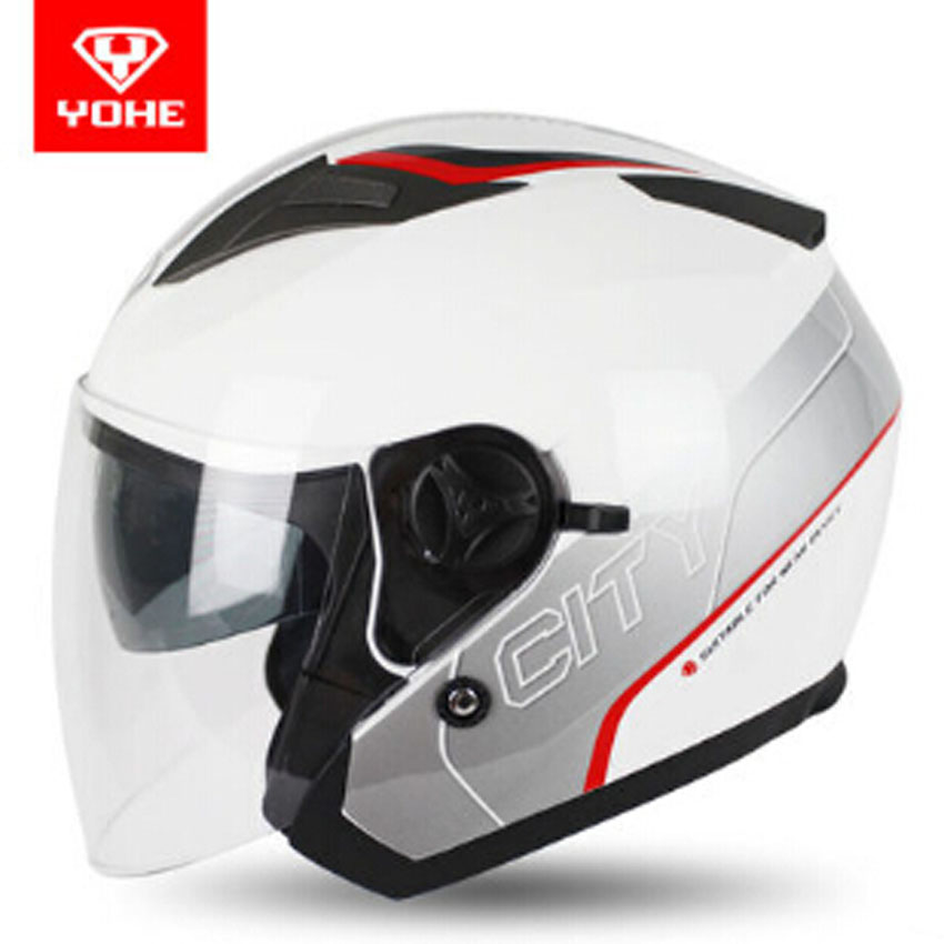 2017 New YOHE Double lens Motorcycle helmet YH-868 Half face Motorbike helmet for Four sesaons electric helmets 2017 new knight protection gxt flip up motorcycle helmet g902 undrape face motorbike helmets made of abs and anti fogging lens