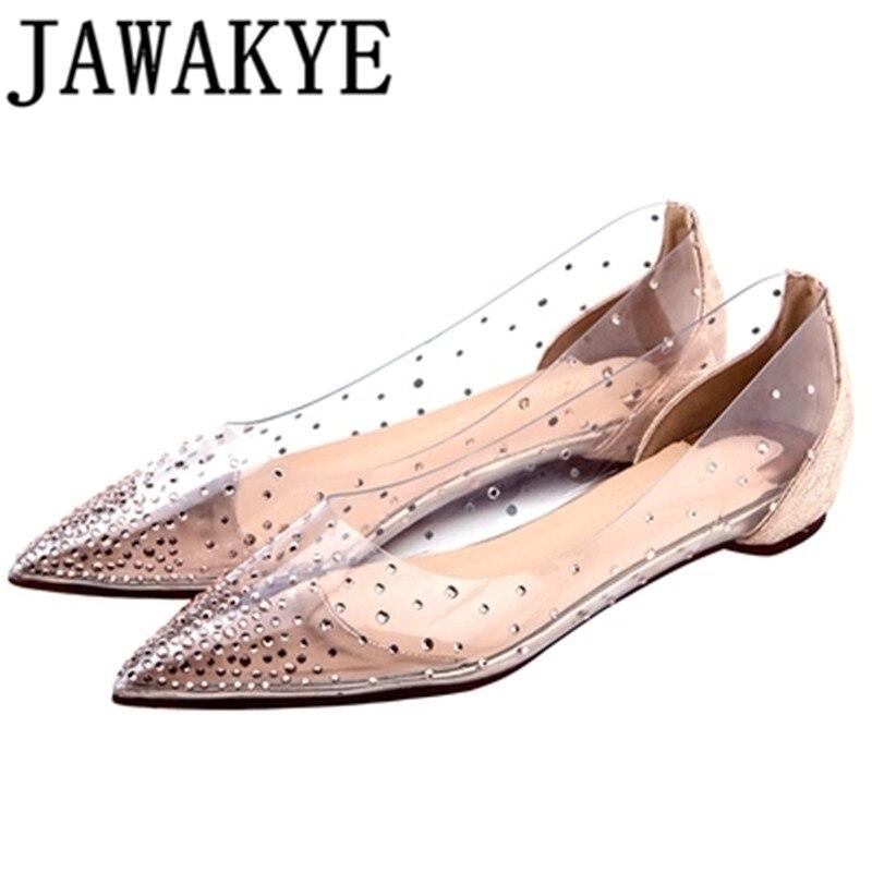 Chaussures plates en cristal PVC JAWAKYE pour femme, bout pointu, talon bas, Bling Bling, chaussures d'été cloutées, chaussures de mariage