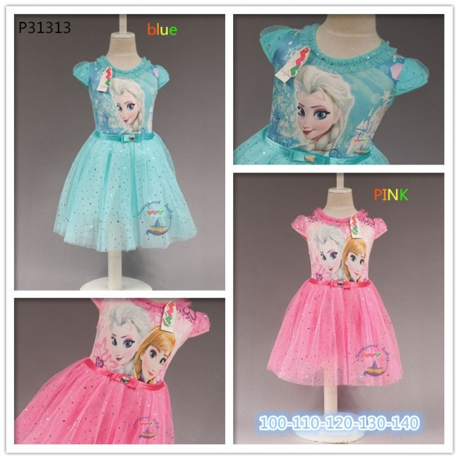 EMS DHL Free shipping 2015 Summer Wear Dress Girl Summer cospaly  Dress Pink Blue 2Colors