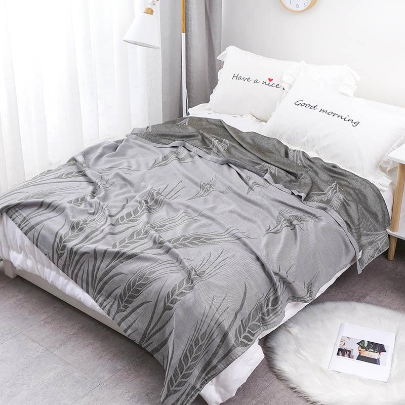 Хлопковое муслиновое летнее одеяло для кровати, дивана, дышащего стиля, мягкое одеяло для пикника, путешествий - Цвет: O