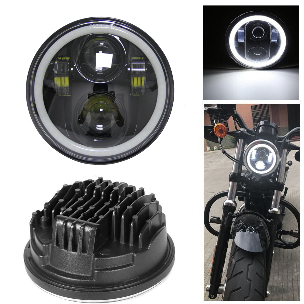 5.75 inch Motorcycle Daymaker LED Projector Full Halo 5-3/4  Headlight hi low beam For Harley Davidson Dyna Sportster 7inch 75w motorcycle black hi lo beam projector daymaker led chips headlight for harley
